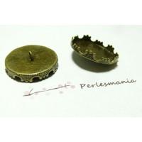 10 Supports de boutons à coudre 20mm couronne BR
