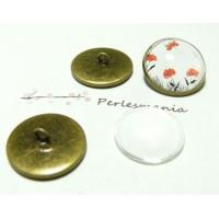 20 pièces: 10 Supports de boutons à coudre 16mm BR et 10 cab