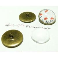20 pièces: 10 Supports de boutons à coudre 18mm BR et 10 cab