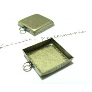 10 Supports pendentif carré 16mm BR bord épais attache ronde