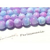 2 perles jade teintée 12mm violet et bleu R73093