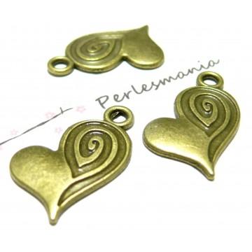 Apprêt bijoux 10 pendentifs coeur et tourbillon BR ref 2D3205