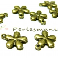 Apprêt 30 pendentifs ref 84 jolie fleur Bronze