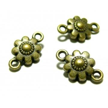 Apprêt bijoux 10 connecteurs fleurs 3D ref 95 4BO Bronze