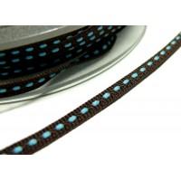 3 m ruban surpiqué marron et bleu 5mm ref 4599 collection 27