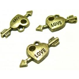Apprêt bijoux 30 pendentifs P235 Love coeur bronze