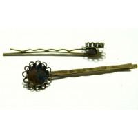 Apprêt 2 Supports de barrette 12mm dbl vague bronze