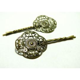 Apprêt bijoux 10 barrettes retro 2M3211 GM Bronze