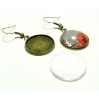 4 pièces: 2 Boucle d'oreille corchet Qualité 20mm BR et 2 cabochons en verre