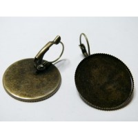 2 Supports de boucle d'oreille de 25mm plateau couleur bronze