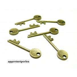 Apprêt bijoux 10 pendentifs 2D2326 clé Bronze
