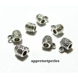 Apprêt bijoux :50 pendentifs bélières fleurs 2B4526 Vieil argent
