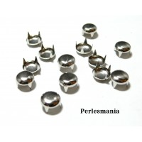 Apprêt bijoux: lot de 100 clous rivet 5mm rond à 4 griffes