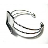 Apprêt 1 bracelet carré double 25mm argent platine pour image collage digitale