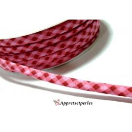 Apprêt 50 cm ruban cordon spaghetti 7mm ref FFcollection 508 vichy fushia