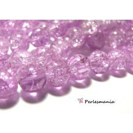 Fournitures bijoux: 1 fil d'environ 90 perles de verre craquelé 2G5310 Lilas 10mm