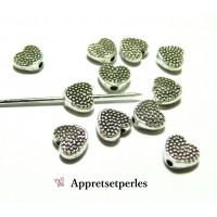 Fournitures et perles: 100 perles intercalaires 2B2627 coeur picot Viel argent