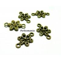 Apprêt pour bijoux: 40 pendentif connecteur fleur Bronze ref 245