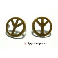 Fournitures bijoux: Lot de 10 clous à griffes peace Bronze 15mm pour customisation