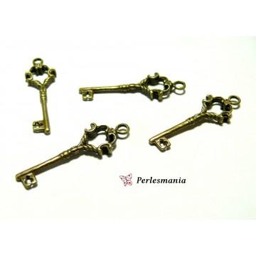 Apprêt pour bijoux: 4 clé pendentifs breloque bronze ref 192