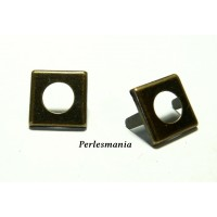 Fournitures bijoux: Lot de 10 clous Carré Bronze 14mm pour customisation