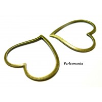 Apprêt pour bijoux: 2 pendentifs grand coeur breloque bronze ref 57