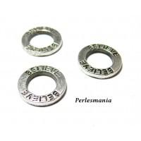 Apprêt pour bijoux: 10 pendentifs anneau rond message BELEIVE vieil argent 2B9804