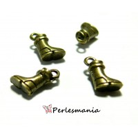 Fournitures pour bijoux: 50 pendentif breloque mini bottines PA24604 Bronze