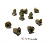 100 embouts /poussoir tube pour Boucle d'oreille puce bronze qualité Extra P028