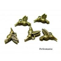 50 pendentifs petits oiseau mouche Bronze pour création de bijoux ref A12015