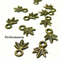 100 pendentifs feuille Bronze ref 2D4239 Fournitures pour création de bijoux