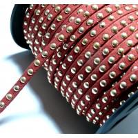 50 cm de cordon de suédine cloutée doré aspect Daim Rouge PR00205
