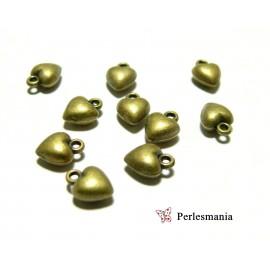10 pendentifs petits coeurs 3D ref 45 Bronze fournitures pour bijoux