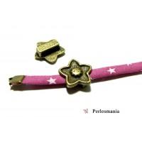 2 slides fleur Bronze P19636 Apprêt pour création de bijoux