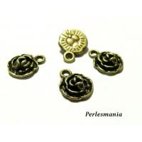 30 pendentifs fleur rose 3D BRONZE 2Y2113 fournitures pour bijoux