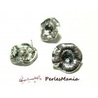 Fournitures bijoux: 1 paire de boucle d'oreille Puce fleur d'Arum Vieil argent