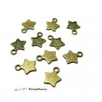 Fournitures loisirs créatifs: 10 pendentifs Etoile Bronze OB681