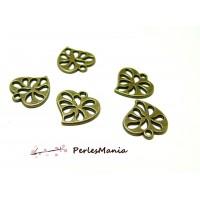 Fournitures loisirs créatifs: 50 pendentifs magnifique petits coeur ajourés Bronze 2Y6524