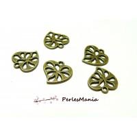 Fournitures loisirs créatifs: 10 pendentifs magnifique petits coeur ajourés Bronze 2Y6524