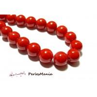 1 fil de 69 perles environ jade teintée 6mm rouge vif P31 pour création de bijoux
