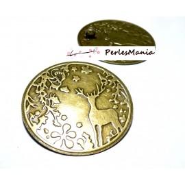 1 magnifique pendentif de Noel grand cerf BRONZE 2K6311 fournitures pour bijoux