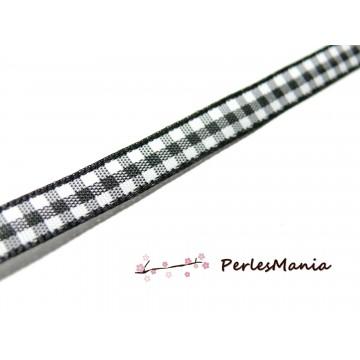 2 mètres ruban vichy bi face noir 7mm PRC702 pour scrapbooking