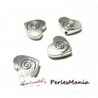 30 perles intercalaires coeur et spirales 2A3716 Vieil argent tout pour vos bijoux