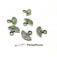 50 pendentifs mini eventail vieil argent 2Y5218 breloques pour création de bijoux
