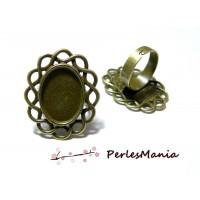 1 bague ARTY P3919 qualité 13 par 18mm BRONZE materiel pour création de bijoux