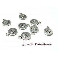 50 pendentifs medaille double coeur vieil argent 2B4437 breloques pour création de bijoux