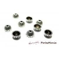 50 coupelles 9 par 4mm calottes coquilles striées 2A3228 argent platine accessoire pour bijoux