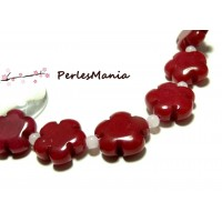 Perles et pierres: 5 perles fleurs jade teintée 5 pétales couleur Rouge 16mm