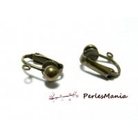 10 supports de Boucles d'oreille clips Bronze avec attache P491 pour création de bijoux