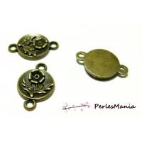 40 pendentifs intercalaire fleur zen Bronze H11003 pour création de bijoux